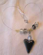 Black Heart Necklace with beads