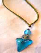 Turquoise Heart on Green Suede Necklace V4 -1