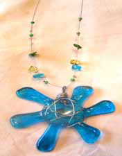 Blue Flower - Green - Blue- yellow Beads Necklace V4 32