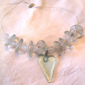 Clear heart with big clear beads necklace