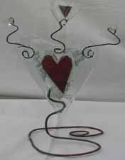 Fused copper in clear glass heart with  3 bead twiggles