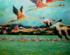 Flamingoes in Flight