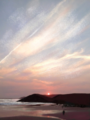 Sunset At White Sands Beach, Pembrokeshire