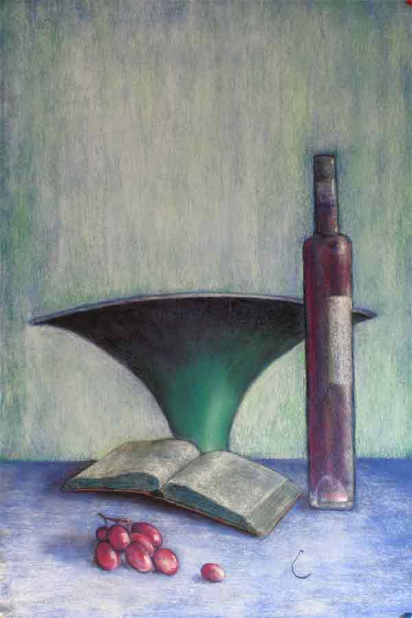 Book, bowl, grapes and wine bottle