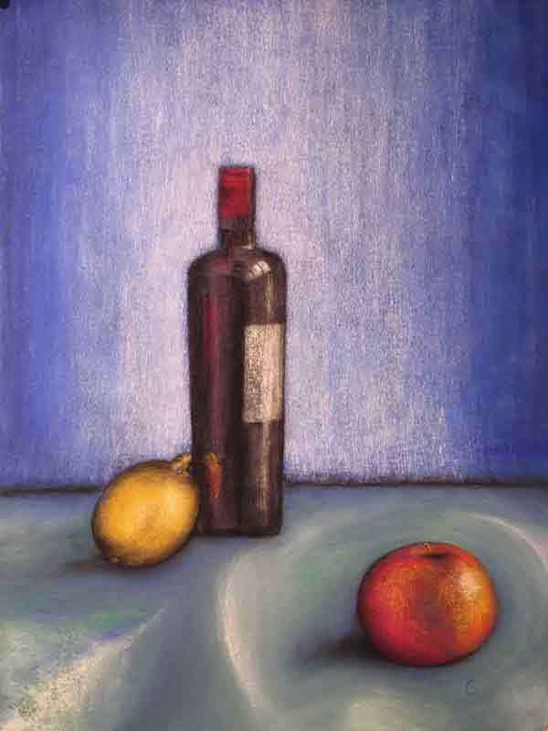 Wine Bottle and Apple